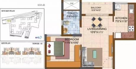 654 sqft, 1 bhk Apartment in Prestige Royale Gardens Yelahanka, Bangalore at Rs. 39.0000 Lacs