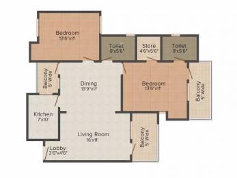 1288 sqft, 2 bhk Apartment in Jaipuria Sunrise Greens VIP Rd, Zirakpur at Rs. 16500