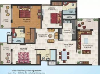 2040 sqft, 3 bhk Apartment in Hollywood Heights VIP Rd, Zirakpur at Rs. 16500