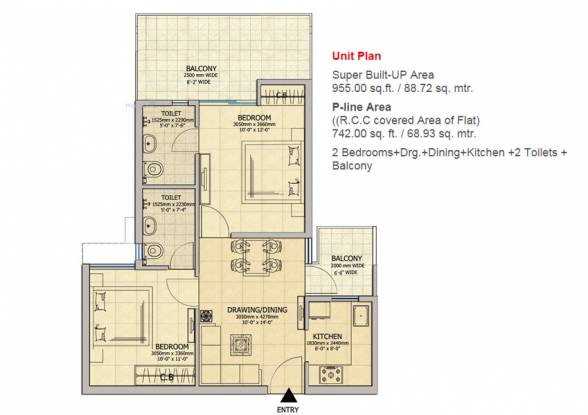 955 sqft, 2 bhk Apartment in Gaursons Atulyam Omicron, Greater Noida at Rs. 34.0000 Lacs