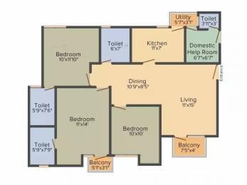 1355 sqft, 3 bhk Apartment in Unitech Uniworld Gardens 2 Sector 47, Gurgaon at Rs. 31000