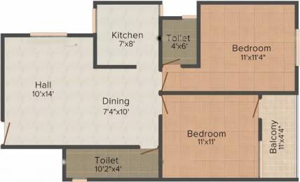 938 sqft, 2 bhk Apartment in Vastu Silicon City AB Bypass Road, Indore at Rs. 11500