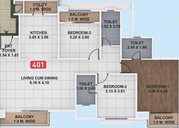 1215 sqft, 3 bhk Apartment in Pegasus Megapolis Mystic Hinjewadi, Pune at Rs. 70.0000 Lacs