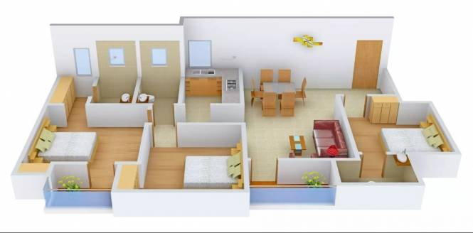 1250 sqft, 3 bhk Apartment in Shalimar Mannat Uattardhona, Lucknow at Rs. 41.8750 Lacs