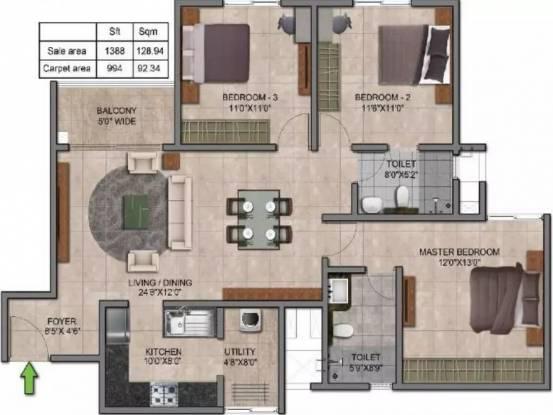 1388 sqft, 3 bhk Apartment in Prestige Jindal City Dasarahalli on Tumkur Road, Bangalore at Rs. 84.7280 Lacs