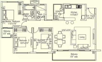 1575 sqft, 3 bhk Apartment in Elita Promenade JP Nagar Phase 7, Bangalore at Rs. 1.1500 Cr