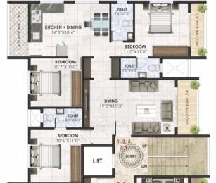 1310 sqft, 3 bhk Apartment in Jay Sai Serenity Anandwalli Gaon, Nashik at Rs. 68.0000 Lacs