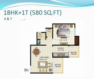580 sqft, 1 bhk Apartment in  Spring Meadows Techzone 4, Greater Noida at Rs. 20.0000 Lacs