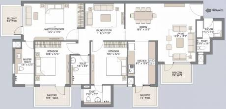 1900 sqft, 3 bhk Apartment in Emaar Palm Gardens Sector 83, Gurgaon at Rs. 22000