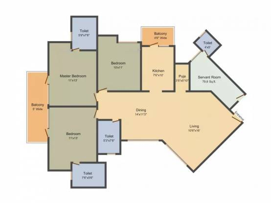1790 sqft, 3 bhk Apartment in Mapsko Royale Ville Sector 82, Gurgaon at Rs. 82.0000 Lacs