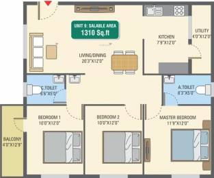 1310 sqft, 3 bhk Apartment in 5 Elements GR Gardenia Electronic City Phase 1, Bangalore at Rs. 47.2000 Lacs
