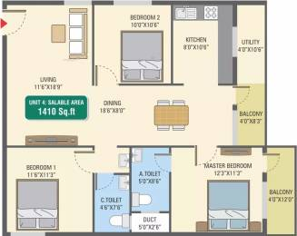 1410 sqft, 3 bhk Apartment in 5 Elements GR Gardenia Electronic City Phase 1, Bangalore at Rs. 50.8000 Lacs