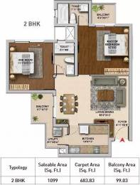 1099 sqft, 2 bhk Apartment in Hero Homes Gurgaon Sector 104, Gurgaon at Rs. 68.4673 Lacs