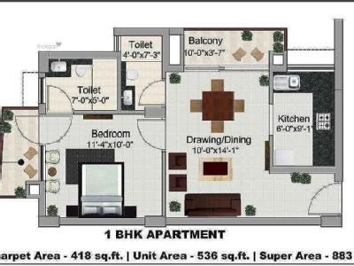 536 sqft, 1 bhk Apartment in Maya Green Lotus Saksham Patiala Highway, Zirakpur at Rs. 36.0000 Lacs