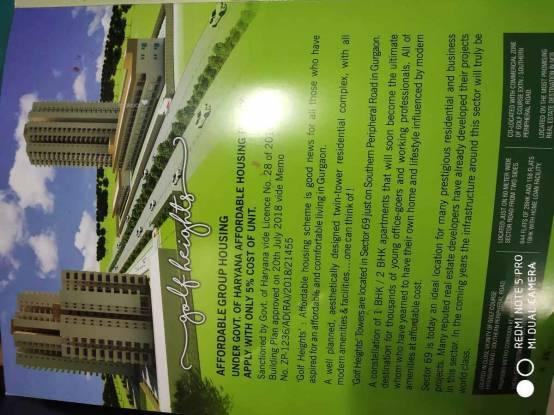 850 sqft, 2 bhk Apartment in OSB Golf Heights Sector 69, Gurgaon at Rs. 23.0000 Lacs