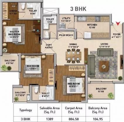 1389 sqft, 3 bhk Apartment in Hero Homes Gurgaon Sector 104, Gurgaon at Rs. 80.2100 Lacs