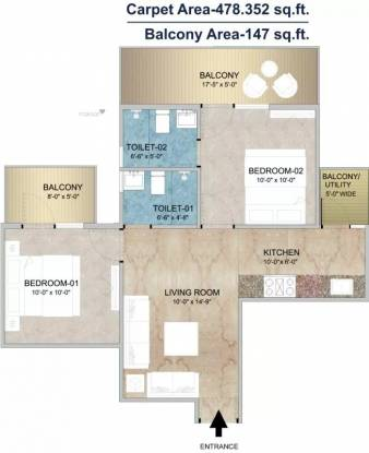 621 sqft, 2 bhk Apartment in Adore Happy Homes Grand Sector 85, Faridabad at Rs. 24.9800 Lacs