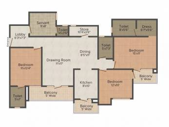 1845 sqft, 3 bhk Apartment in Trident Embassy Sector 1 Noida Extension, Greater Noida at Rs. 13000