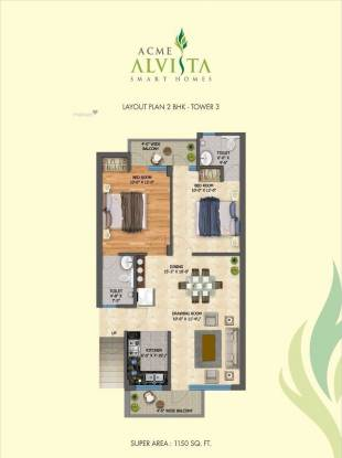 1150 sqft, 2 bhk Apartment in Chandigarh Green Fields Acme Alvista Sector 126 Mohali, Mohali at Rs. 29.9000 Lacs