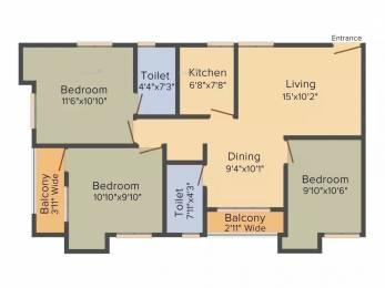 1250 sqft, 3 bhk Apartment in Mainaak Symphony Towers Behala, Kolkata at Rs. 14000