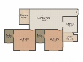 970 sqft, 2 bhk Apartment in Ozone Evergreens Harlur, Bangalore at Rs. 80.0000 Lacs