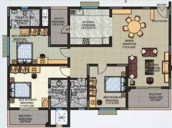 1855 sqft, 3 bhk Apartment in Sobha Moonstone Thanisandra, Bangalore at Rs. 30000