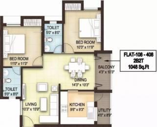 1048 sqft, 2 bhk Apartment in  Blue Bells Padur, Chennai at Rs. 22000