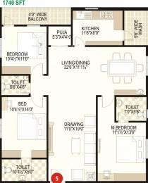 1740 sqft, 3 bhk Apartment in Prime Galaxy Tadepalli, Guntur at Rs. 17500