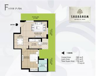 786 sqft, 1 bhk Apartment in Great Value Sharanam Sector 107, Noida at Rs. 43.6230 Lacs