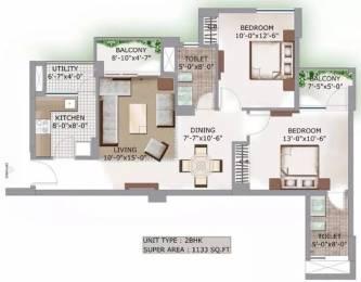 1133 sqft, 2 bhk Apartment in 3C Lotus Boulevard Sector 100, Noida at Rs. 18000