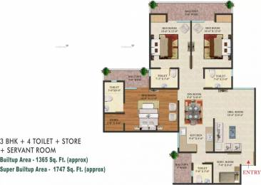 1747 sqft, 3 bhk Apartment in Indosam 75 Sector 75, Noida at Rs. 20000