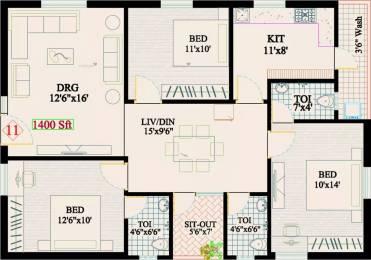 1820 sqft, 3 bhk Apartment in RK Sai Soudha Gorantla, Guntur at Rs. 10000