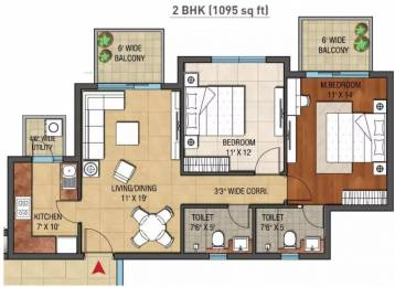 1095 sqft, 2 bhk Apartment in Hero Hero Homes Sector 88 Mohali, Mohali at Rs. 30000