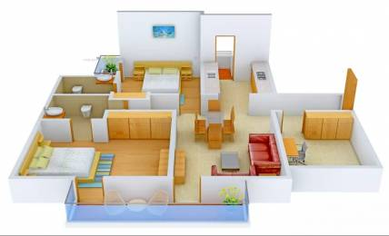 1250 sqft, 2 bhk Apartment in Omaxe Residency Gomti Nagar Extension, Lucknow at Rs. 21000
