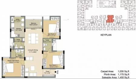1450 sqft, 3 bhk Apartment in Arihant Esta The One Mogappair, Chennai at Rs. 30000