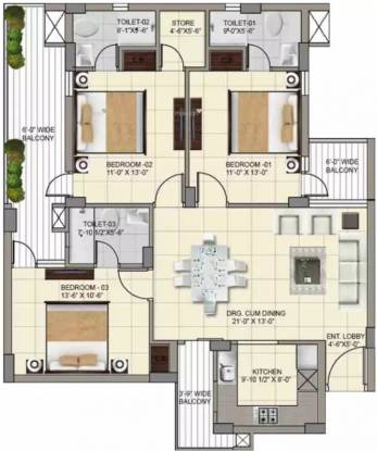 1650 sqft, 3 bhk Apartment in APS Highland Park Bhabat, Zirakpur at Rs. 63.0210 Lacs