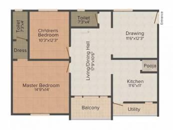 1250 sqft, 2 bhk Apartment in Jaya Bharathi Sagar Heights Nizampet, Hyderabad at Rs. 12500