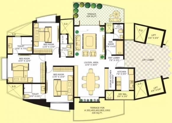 1935 sqft, 3 bhk Apartment in Marvel Citrine Kharadi, Pune at Rs. 45000