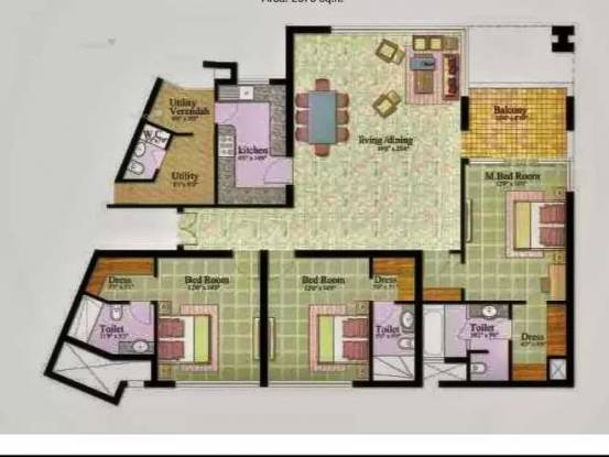 2800 sqft, 3 bhk Apartment in Jaypee The Kalypso Court Sector 128, Noida at Rs. 2.1000 Cr
