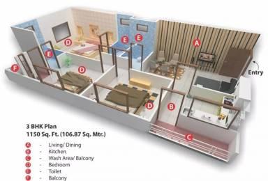 1150 sqft, 3 bhk Apartment in Nariman Nariman Point Mahalakshmi Nagar, Indore at Rs. 15000