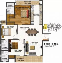 1560 sqft, 3 bhk Apartment in Tulsiani Urban Woods Sushant Golf City, Lucknow at Rs. 62.4000 Lacs