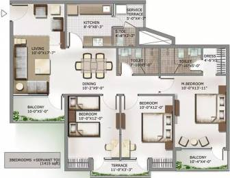 1415 sqft, 3 bhk Apartment in 3C Lotus Panache Sector 110, Noida at Rs. 64.0000 Lacs
