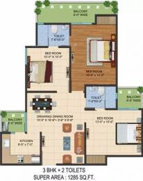 1285 sqft, 3 bhk Apartment in Ajnara LeGarden Sector 16 Noida Extension, Greater Noida at Rs. 11000