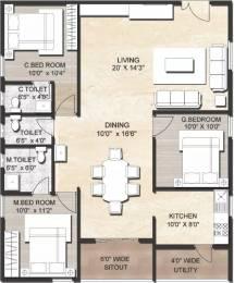1411 sqft, 3 bhk Apartment in IJM Rain Tree Park Willows Grande Namburu, Guntur at Rs. 53.6100 Lacs