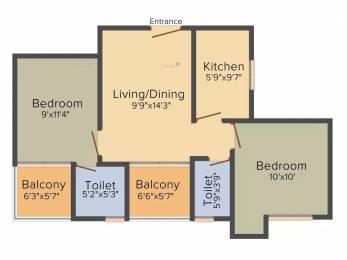 870 sqft, 2 bhk Apartment in Purti Jewel Tangra, Kolkata at Rs. 40.0200 Lacs