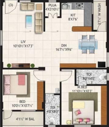 1185 sqft, 2 bhk Apartment in Imperial Oasis Greens Gajulramaram Kukatpally, Hyderabad at Rs. 29.6200 Lacs