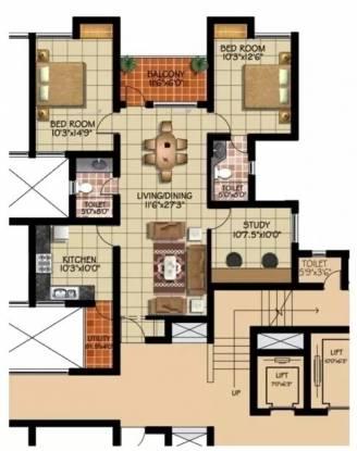 1517 sqft, 2 bhk Apartment in Green Vistas Prakrriti Kakkanad, Kochi at Rs. 55.0000 Lacs