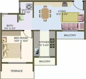 670 sqft, 1 bhk Apartment in Nisarg Hyde Park Kharghar, Mumbai at Rs. 63.0000 Lacs