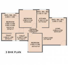 1070 sqft, 3 bhk Apartment in Builder Project new Panvel navi mumbai, Mumbai at Rs. 89.0000 Lacs