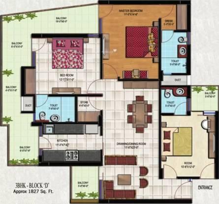 1827 sqft, 3 bhk Apartment in Golden Sand Apartments Dhakoli, Zirakpur at Rs. 59.4500 Lacs